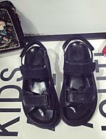 Women's Sandals Summer / Fall Gladiator Microfibre Casual Flat Heel Hook & Loop Black / Silver