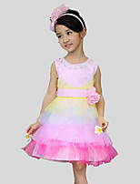 Girl's Casual/Daily Patchwork Dress,Cotton / Polyester All Seasons Pink / White