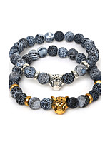 Beadia 1Pc 8mm Round Natural Dream Fire Dragon Veins AgateStone Bracelet With Leopard Head(19cm Length)