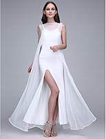 Lanting Bride Ankle-length Chiffon / Jersey Bridesmaid Dress Sheath / Column Bateau with