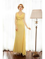 Formal Evening Dress A-line Spaghetti Straps Floor-length Chiffon with Beading / Side Draping