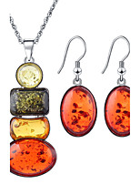 Rectangular Beeswax Drop Count Multi-colored Necklace +  Orange Oval Earrings Jewelry Sets