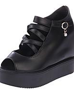 Women's Shoes PU Platform Open Toe Sandals Outdoor / Dress / Casual Black / White