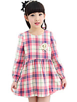 Girl's Round Collar Sweet Casual/Daily Plaid Check Long Sleeve Dress