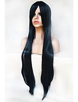 cosplay couleur perruque de soie 100 cm haute température noir et bleu mélange perruque de longs cheveux raides