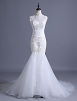 Trumpet / Mermaid Wedding Dress Court Train High Neck Lace / Tulle with Beading / Appliques