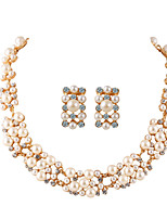 Imitation Pearl Jewelry Set for Women Gold Plated Flower Necklace and Earrings Sets Wedding Bride