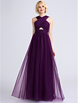 Lanting Bride Floor-length Tulle Bridesmaid Dress A-line V-neck with Criss Cross