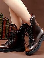 Chaussures Femme-Extérieure / Décontracté-Noir / Rouge-Gros Talon-Bout Arrondi-Bottes-Cuir