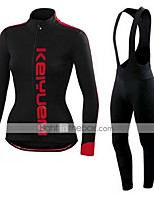 KEIYUEM® Winter Thermal fleece Long Sleeve Cycling Jersey+Long Bib Tights Ropa Ciclismo Cycling Clothing Suits #W46