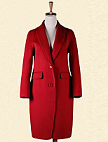Women's Casual/Daily Vintage Coat,Solid Shirt Collar Long Sleeve Winter Blue / Pink / Red / Green / Purple Wool Medium