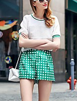 PRASE  Women's Print White T-shirt,Round Neck Short Sleeve