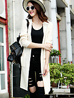 Women's Solid Red / Beige Cardigan,Street chic Long Sleeve