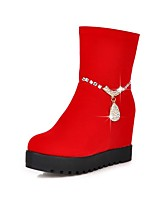 Women's Shoes Fleece Fall/Round Toe Boots Office & Career/Casual Wedge Heel Sparkling Glitter/Zipper Black/Red