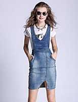Women's Casual/Daily Simple Plus Size / Denim Slim Gallus Dress,Solid Strap Above Knee Sleeveless