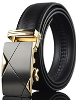 Men Black Simple Automatic Buckle Genuine Leather Wide Belt Waist Strap,Work / Casual