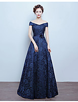 Formal Evening Dress A-line Off-the-shoulder Floor-length Lace with Flower(s)