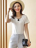 Wake Up® Women's Round Neck Short Sleeve T Shirt White / Pink-T16175