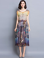 Women's Going out Sophisticated Sheath Dress,Print Round Neck Midi Short Sleeve Gray Rayon Summer