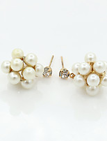 Earring Circle Jewelry Women Fashion Wedding / Party / Daily / Casual Alloy / Imitation Pearl / Rhinestone 1 pair Gold