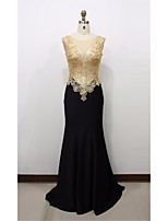 Formal Evening Dress Trumpet / Mermaid Scoop Sweep / Brush Train Lace / Satin with Appliques / Lace