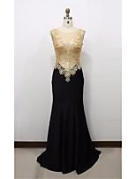 Evento Formal Vestido Sereia Decote em U Cauda Escova Renda / Cetim com Apliques / Renda
