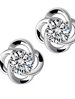 Hollow Lucky Clover Delicate Zircon Crystal Sterling Silver Stud Earrings