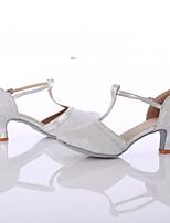 Women's Latin Breathable Mesh Heel Indoor Customized Heel Silver Customizable
