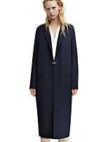Women's Going out Simple Coat,Solid Shirt Collar Long Sleeve Winter Blue Wool Thick