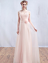 Formal Evening Dress-Pearl Pink A-line Straps Floor-length Tulle