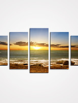 5 Panels Sunset and the Seascape Print Canvas Modern Wall Art for Home Decor Unframed