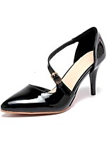 Women's Shoes Patent Leather Summer/ Pointed Toe Heels Office & Career/ Casual Stiletto Heel Buckle Black/ Red / Almond