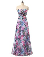 Formal Evening Dress Sheath / Column Sweetheart Floor-length Chiffon with Pattern / Print