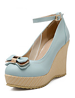 Women's Heels Summer / Fall Wedges / Comfort PU Office & Career / Casual Wedge Heel Bowknot / Buckle Blue / Pink / White