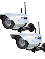 KingNEO306SA Outdoor Solar Power Dummy Wifi Security Camera Simulated Camera with Antenna Flash LED 2pc Silver