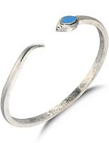 Natural Vintage Snake Shape Opening Silver Bracelet