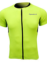 Cycling Jersey Short Sleeve 100% Polyester Breathable Men Green