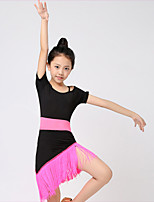 Kids' Dancewear Outfits Children's Performance Milk Fiber Tassel 1 Piece Fuchsia / Green Latin Dance Short Sleeve
