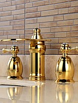 Separated Type Two Handles Ti-PVD Bathroom Basin Faucet - Gold