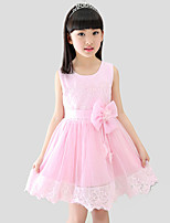 Girl's Casual/Daily Solid Dress,Cotton / Polyester All Seasons Pink / Yellow