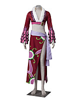 Inspired by One Piece Boa Hancock Anime Cosplay Costumes Cosplay Suits Floral Red / Purple Long SleeveCoat / Skirt / Waist Accessory /