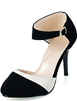 Women's Spring / Summer / Fall Heels Velvet / Leatherette Office & Career / Dress / Casual Stiletto Heel Buckle / Split JointBlack / Blue