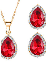 Classic Teardrop-shaped Oval Ruby Gems Necklace Earrings Jewelry Sets