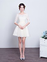 Short / Mini Lace / Tulle Bridesmaid Dress A-line Scoop with Lace / Pearl Detailing