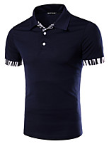 Men's Fashion Slim Zebra Stitching Short Sleeve Polo Shirt,Cotton / Polyester Casual Striped / Patchwork