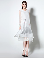 Boutique S Women's Casual/Daily Simple Swing Dress,Print Round Neck Midi Long Sleeve White Polyester Summer