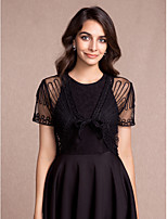 Women's Wrap Shrugs Short Sleeve Tulle More Colors Party/Evening / Casual V-neck 40cm Pattern Lace-up