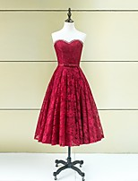 Formal Evening Dress A-line Strapless Tea-length Lace with Beading / Bow(s)