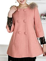 Women's Casual/Daily Simple Coat,Solid Notch Lapel Long Sleeve Winter Pink / Red / White / Green / Orange / Yellow