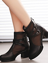 Women's Boots Spring / Fall Combat Boots Leather Casual Chunky Heel Buckle Black